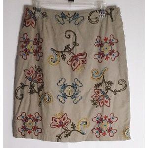 Susan Bristol Skirt Embroidered Tan/Multi Size 10